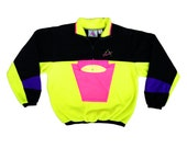 Insane 80s Neon Colorblock Party Time Fleece Sweater - XL