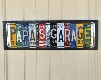 Papa's Garage License Plate Sign