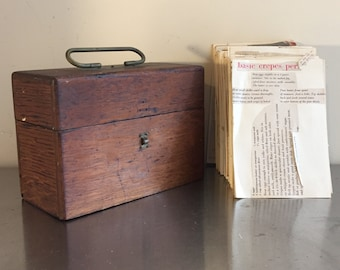 Antique Wooden Box with Brass Hardware