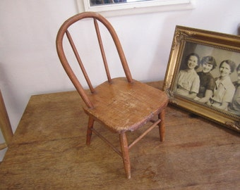 Vintage Wooden Doll's Chair. Windsor style doll chair. Miniature chair