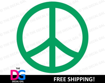 """Peace Sign Vinyl Decal Sticker - FREE SHIPPING - 2"""" 3"""" 4"""" 5"""" 6"""" 7"""" 8"""" 9"""" 10"""" 11"""""""