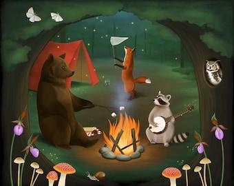 Art Print, 8x10, Illustration Print, Woodland Animal Art, Children's Room Decor, Animal Art