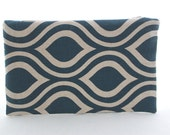 Navy and Beige Graphic Print Pouch