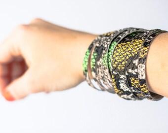 Leather Bracelet / Original Sliced Wrap Cuff / Venom
