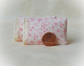 Miniature Pillows, Set of 2 Bed Pillows with tiny pink flowers, swiss embroidery trim detail - 1:12 scale