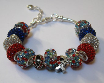 USA Red, White and Blue Rhinestone Beads Beaded Bracelet on Adjustable Snake Chain