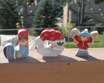 Christmas in July JOY Holiday / Christmas Decoration -Hand Painted Toy Soldier, Sleeping Santa, Angel Girl Form the Word Joy