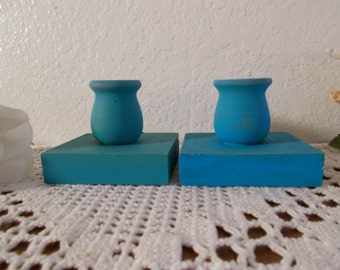 Rustic Aqua Turquoise Blue Taper Candle Holder Set Up Cycled Vintage Wood Pair Beach Cottage Coastal Seaside Tropical Island Home Decor Gift