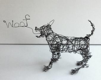 Unique Dog Sculpture - HAPPY WOOF - Wire Sculpture