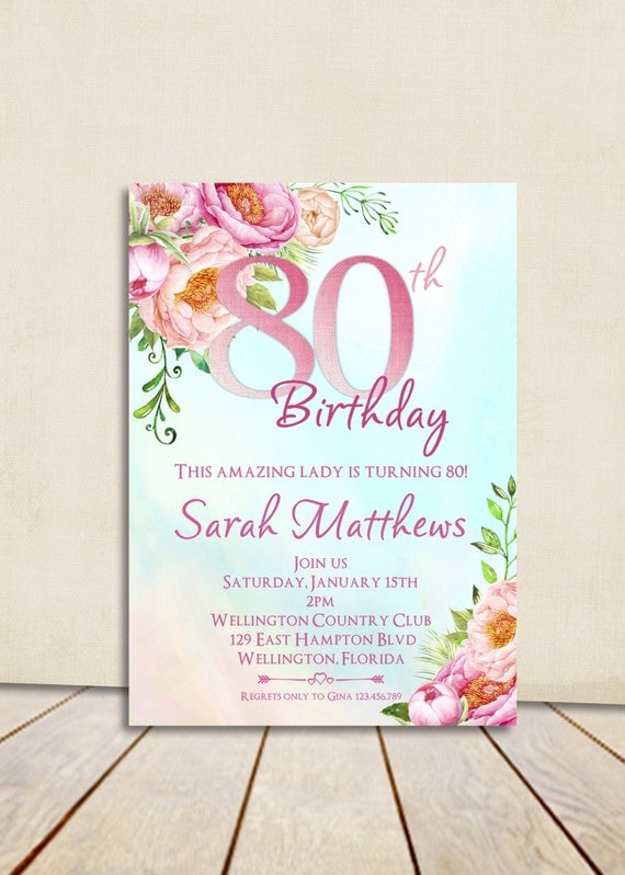 80th Birthday Invitation - Adult Birthday Party Invite - Surprise Birthday - Milestone Birthday Invitation