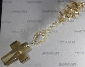 Swarovski 40mm Golden Shadow BIG Cross Crystal with matching Suncatcher (DS18)