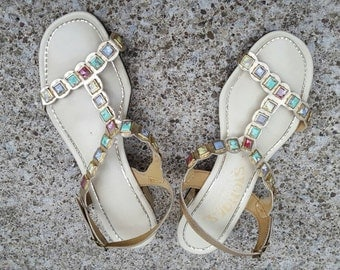 Vintage 1960's Strappy Heeled Sandals with Faux Stone Accents and Gold Tone, Size 7.5