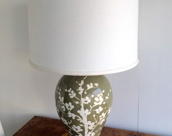 Vintage Lamp - Marbro style - Olive Green & White Floral