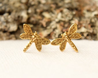 Dragonfly Earring Studs, Available in Antiqued Silver or Antiqued Gold, Stainless Steel Posts