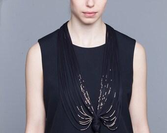 Black string necklaces, fabric  jewelry,  textile jewelry, avant garde necklace,  jersey fringe, necklaces, black statement fiber necklace