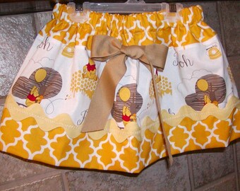 Girls Skirt Custom skirt...Winnie Pooh N Mustard..Available in 0-12 months, 1/2, 3/4, 5/6, 7/8, 9/10 Bigger Sizes Available