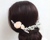 Soft blush ranunculus and white flower hair piece - vintage - half flower crown - halo - bridal - wedding - bride - flower girl