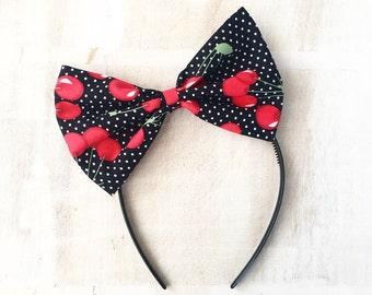 Black with white polka dot cherry print hair bow headband Rockabilly Pin up