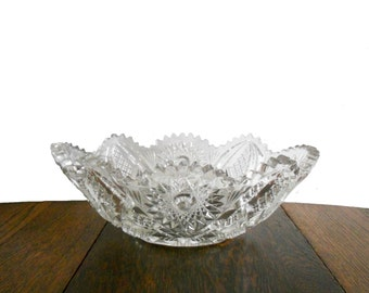 Vintage Bowl Oblong Cut Crystal Brilliant Design and Sawtooth Edge Sunflower and Criss Cross Etching - Antique Glass - Fruit Bowl