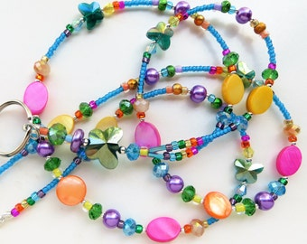 RADIANT BUTTERFLIES Beaded ID Lanyard- Mother of Pearl Beads, Glass Pearls, Spectra Beads, and Sparkling Crystals (Magnetic Clasp)