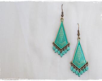 Geometric Earrings, Gypsy Turquoise Earrings, Dangle Brass Earrings, Boho Chandelier Earrings, Tribal Ethnic Earrings, Dangling Earrings