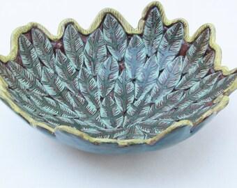 ceramics and pottery leaf bowl; ceramic bowl