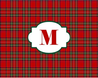 Personalized Red Royal Stewart Tartan Plaid Disposable Placemats - set of 12