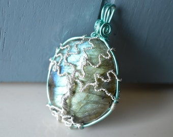 Silver Labradorite Tree of Life Pendant - Blue and Green Flash - Teal - One Of A Kind