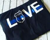 Womens Police Officer Shirt, I stand behind the Thin Blue line, heat transfer t-shirt. Black shirt womens