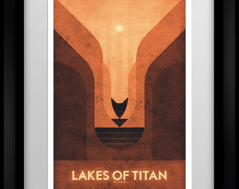 Space Travel Poster - Titan - Lakes of Titan