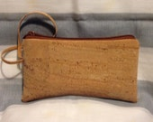 CORK Wristlet - Small - Natural Color - Smooth, Lightweight - Peacock Lining