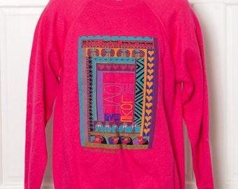 80s 90s Pink Sweatshirt LOVE - Samuel Burch San Francisco - L