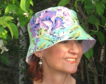 Chemo Hat Bucket Hat Cancer Hat Made in the USA Aqua and Orchid ( For Size Guide, see 'Item Details' below photos)  MEDIUM-LARGE