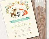 Woodland Birthday Invitation, Fox Birthday Invitation, Fall Birthday Invitation, Printable Invitation, Personalized Invitation