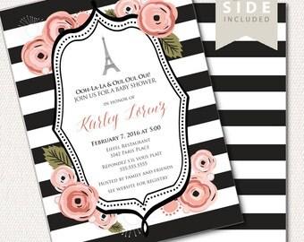 Paris Baby Shower Invitation / Eiffel Tower Baby Shower Invite  - Printable Baby Shower Invitation