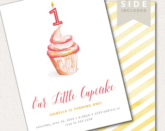 First Birthday Invitation, Birthday Invitation, 1st Birthday Invitation, Watercolor My Little Cupcake // PRINTED or PRINTABLE INVITATIONS