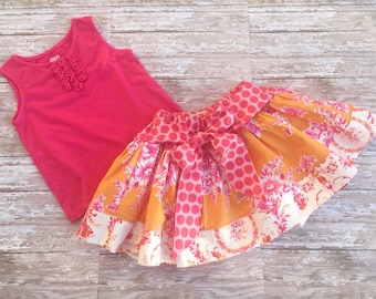 Girls boutique twirl skirt with bow