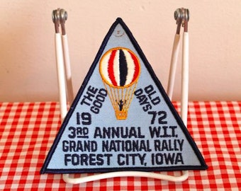 vintage iron on patch - 'the GOOD OLD DAYS' wit club rally budge 1972