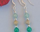 Feldspar and Aventurine Earrings, Green and Brown Earrings, Stone Earrings, Drop Earrings, Dangle Earrings