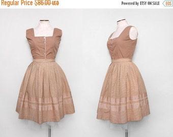 Vintage 1950s Gingham Dress Set / 50s Full Skirt and Top / Medium