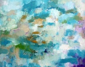 Original small abstract painting blue green turquoise wall art