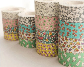 RB200, Wild Flower Fabric Ribbon Tape - 25mm (8Type)
