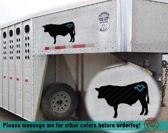 Custom Cattle Silhouette with Brand Vinyl Decals  |  Cow, Steer, Heifer, Bull