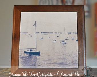 """Trivet Hot Plate:  Sailboats on the Water  