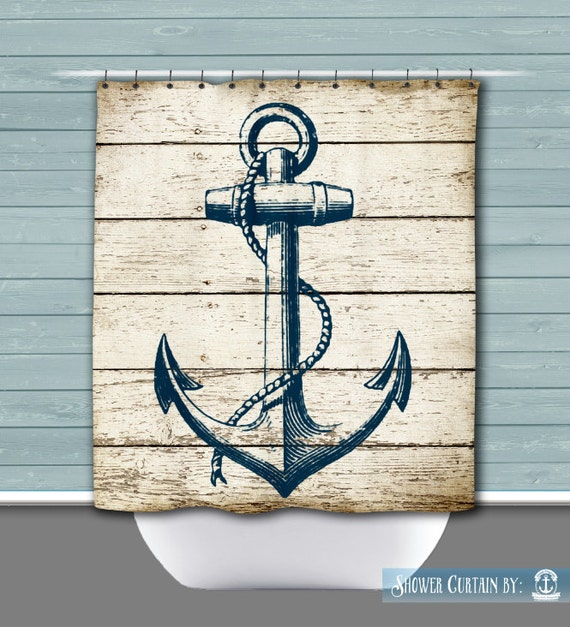 Shower Curtain Anchor Navy Anchor Khaki Tan Shabby Wood Look