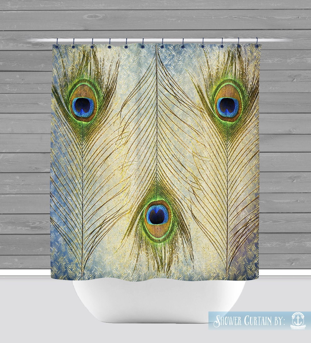 Peacock Shower Curtain Gold Teal Feather Boho Chic 12