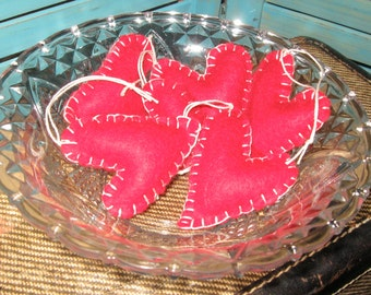 Primitive Valentine Red Small Heart Ornaments Set Made To Order