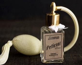Petticoat Lace - Sweet Gardenia Perfume - Gardenia Rose Bergamot Vanilla Floral - Atomizer Bottle -1 oz