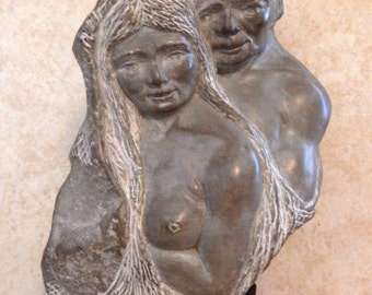 Sale Vintage Stone Sculpture Male & Female Half Nudes Head Bust Wood Base Signed 1970 Art Home Decor