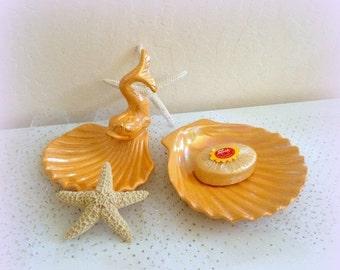 FALL SALE Seashell Soap Dish Set - Seashell Fish Motif - Beach Decor - Gold Glazed Ceramic - Vintage LEO - Vintage Bath